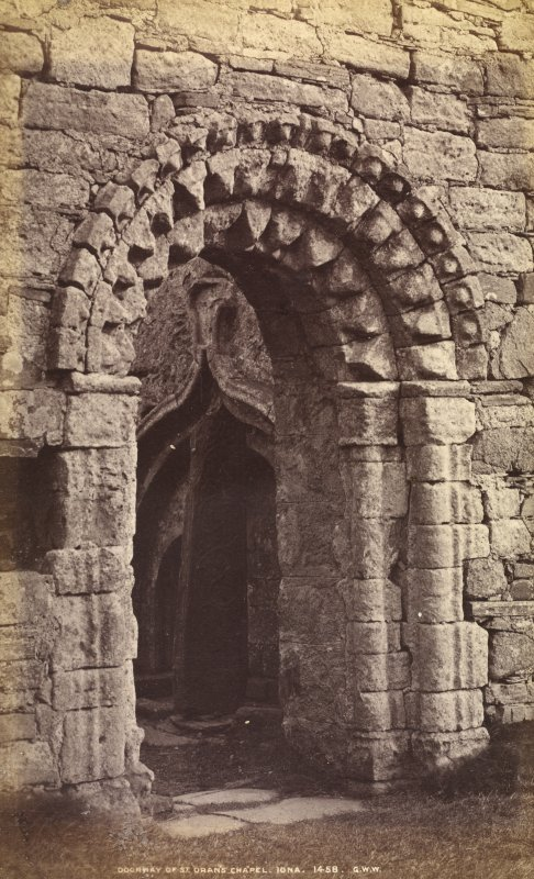 View of doorway. Titled: 'Doorway of St. Oran's Chapel, Iona, 1458 G.W.W.'