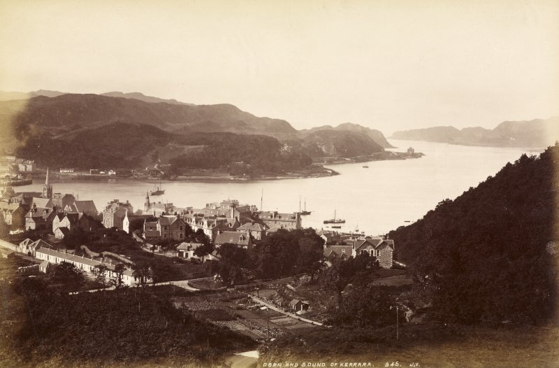 View of Oban.  Titled: 'Oban and Sound of Kerrera. 846. J.V'. PHOTOGRAPH ALBUM No.33: THE COURTAULD ALBUM