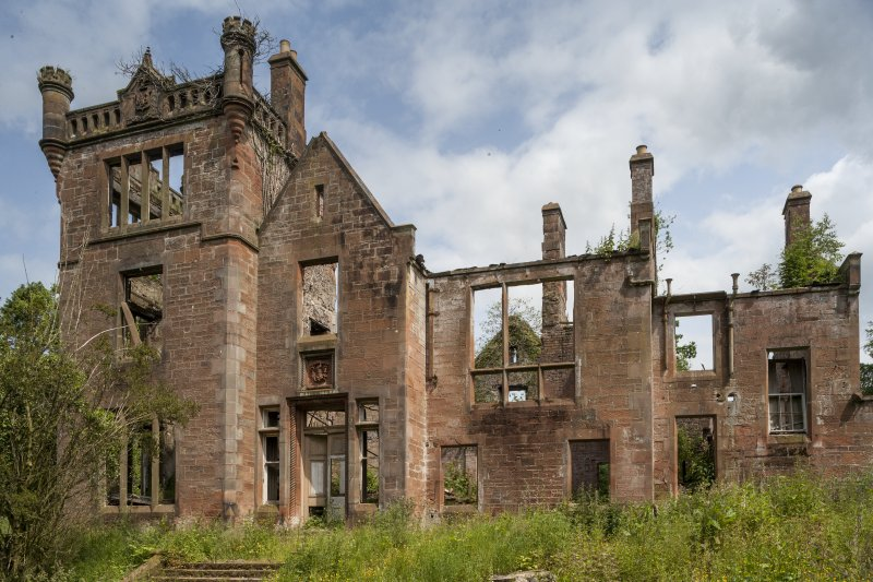 General view of fire-destroyed (in 1970s) Dalmore House, completed 1880.