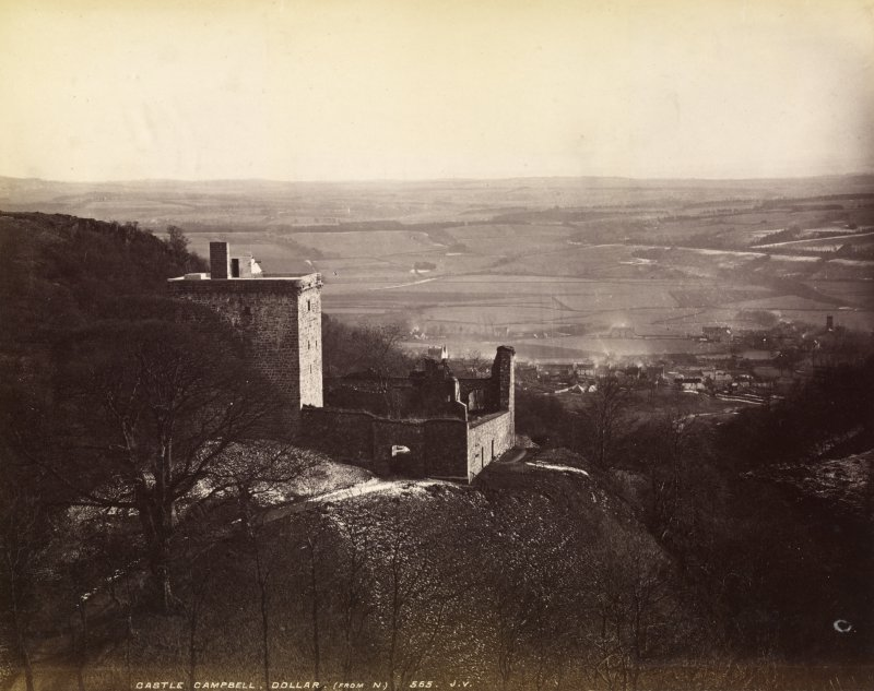 View of castle. Titled: 'Castle Campbell, Dollar (from N) 565 J.V. PHOTOGRAPH ALBUM NO.33: COURTAULD ALBUM