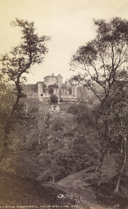 Distant view of castle. Titled: 'Castle Campbell, near Dollar, 260 J.V.' PHOTOGRAPH ALBUM NO.33: COURTAULD ALBUM