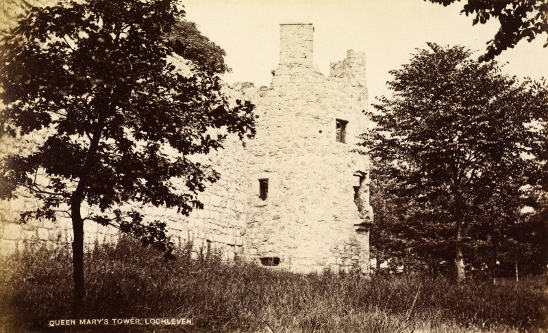 View of castle tower. Titled: 'Queen Mary's Tower, Lochleven' PHOTOGRAPH ALBUM No.33: COURTAULD ALBUM.
