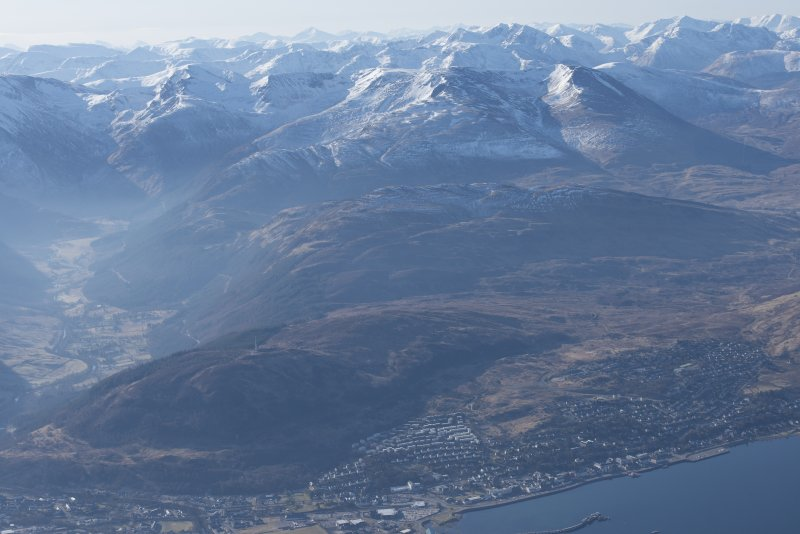 Oblique aerial view of Glen Nevis, Fort William, looking SE.