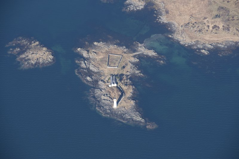 Oblique aerial view of Oronsay Lighthouse, looking W.