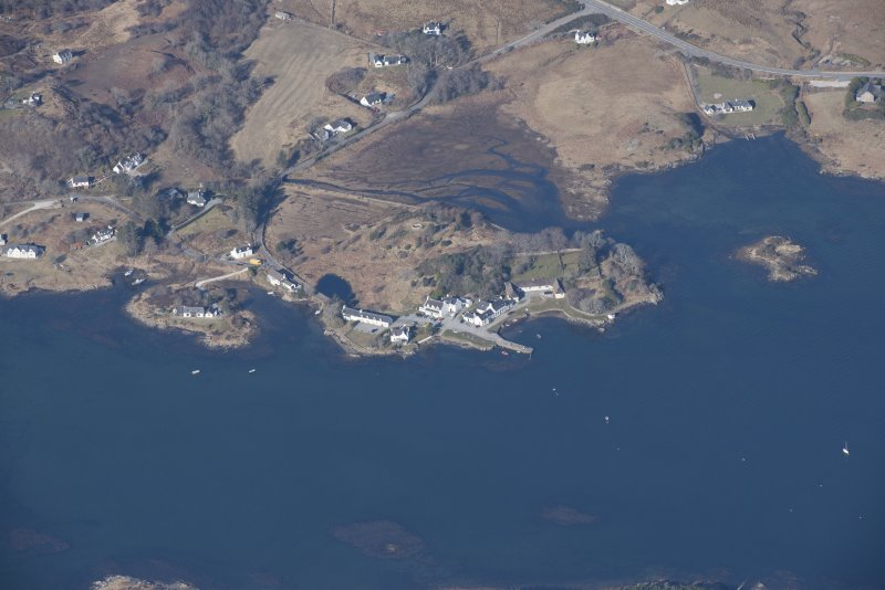 Oblique aerial view of Isleornsay, looking W.
