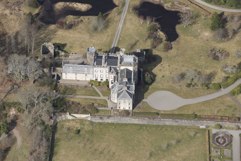 Oblique aerial view of Lochnell House, looking NW.