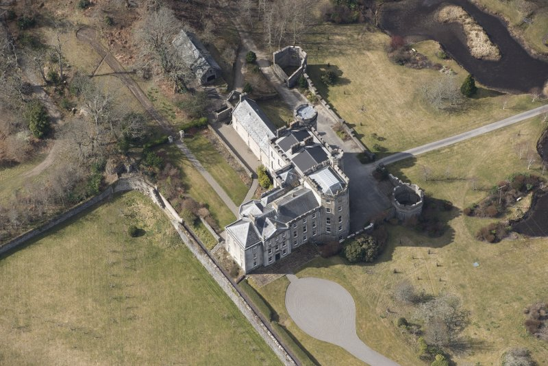 Oblique aerial view of Lochnell House, looking W.