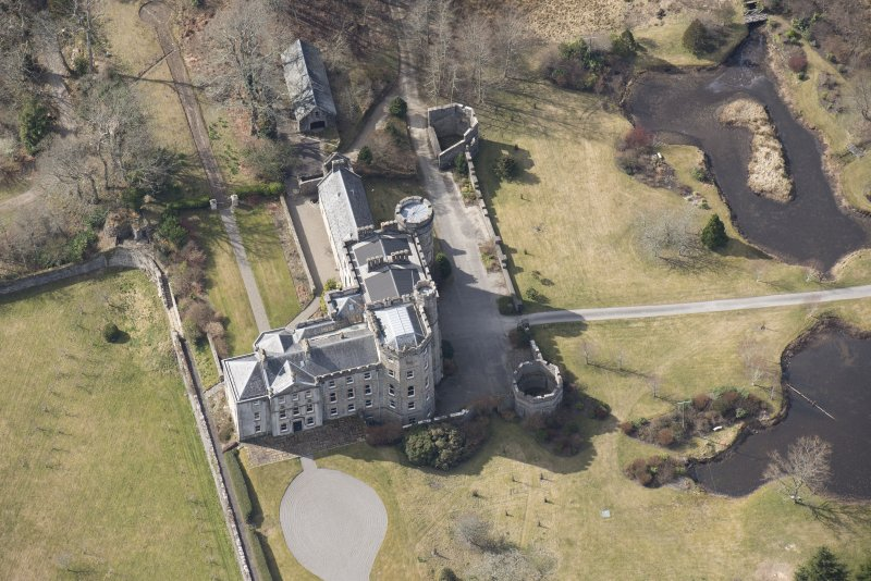 Oblique aerial view of Lochnell House, looking WSW.