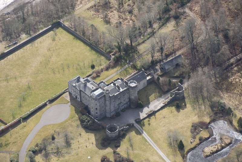 Oblique aerial view of Lochnell House, looking S.