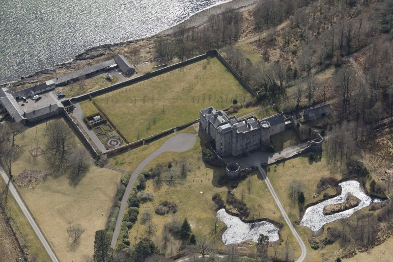 Oblique aerial view of Lochnell House, looking SSE.