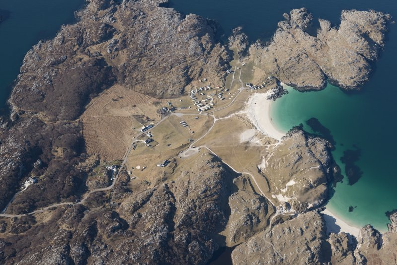 Oblique aerial view of Achmelvich, looking WSW.