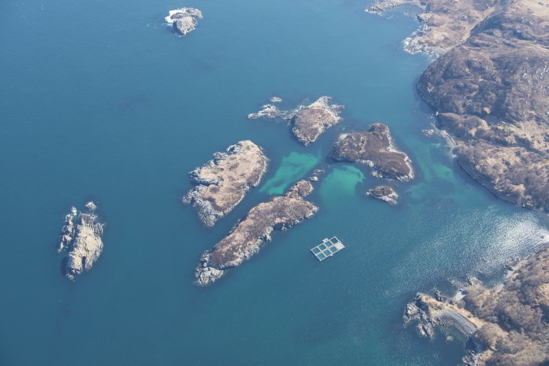 Oblique aerial view of Eilean an Achaidh and the site of the Drumbeg wreck, looking ENE.