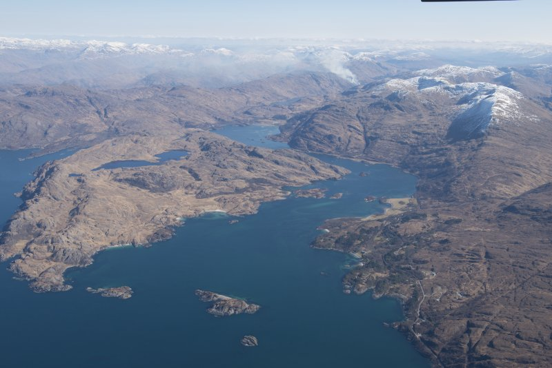 General oblique aerial view of Loch Ailort with Eilean nan Gobhar in the foreground, looking E.