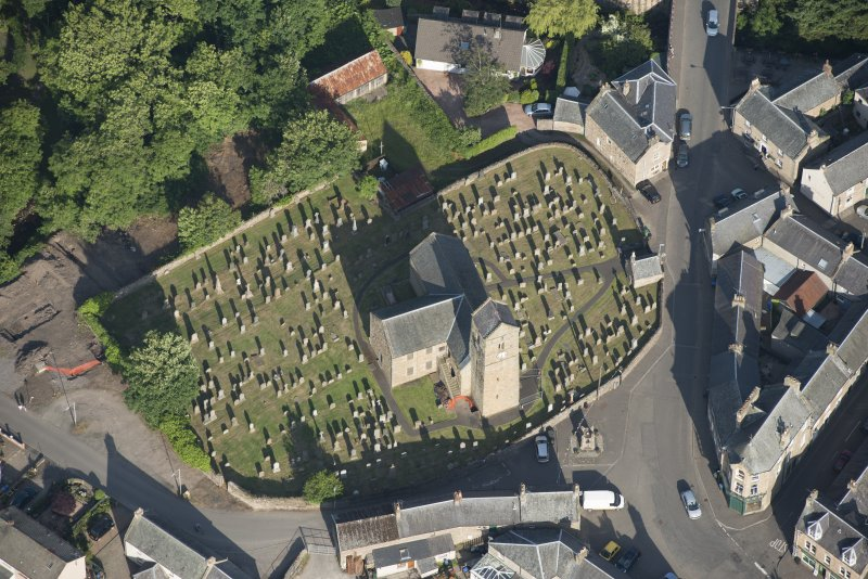 Oblique aerial view of St Serf's Church, looking ENE.