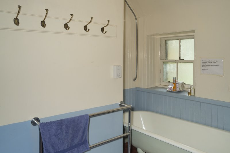 First Floor General view of Bathroom showing panelling and hooks.