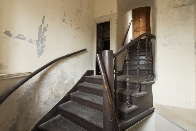 First Floor General view of staircase leading to Observatory.