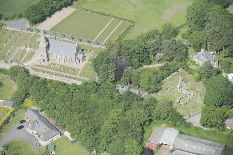 Oblique aerial view of Rathen West Parish Church and Churchyard and St Ethernan's Church, looking NW.