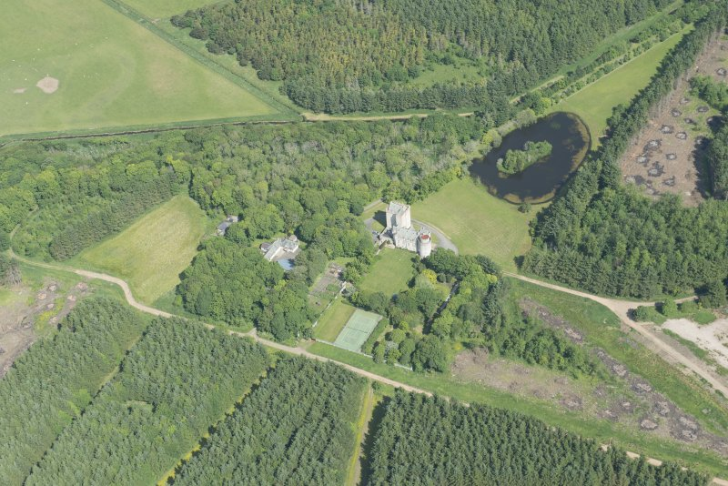 Oblique aerial view of Cairnbulg Castle, looking NNW.