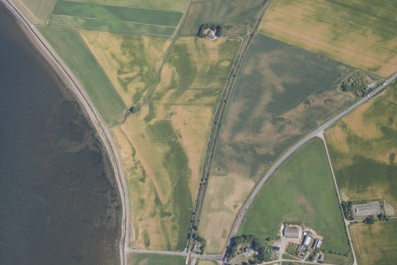 Oblique aerial view of the cropmarks of the palisaded enclosures and the other cropmarking, looking NNE.