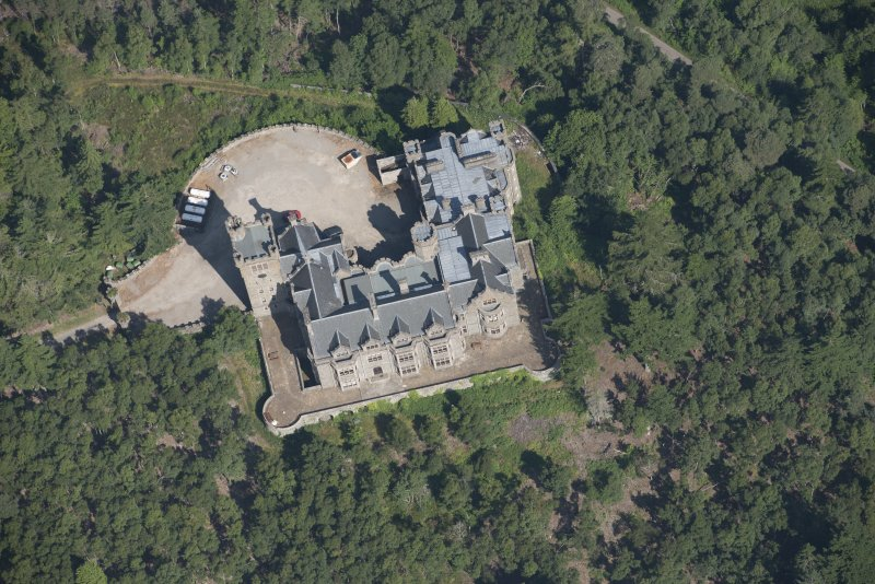 Oblique aerial view of Carbisdale Castle, looking NNW.