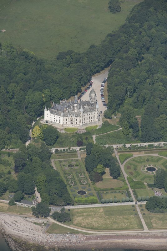 Oblique aerial view of Dunrobin Castle, looking NW.