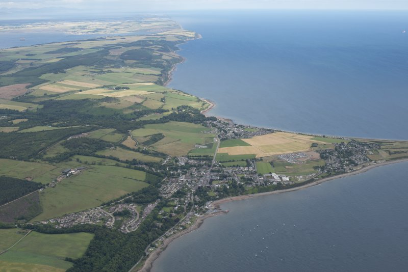 General oblique aerial view centred on Fortrose with the Moray Firth beyond, looking NW.