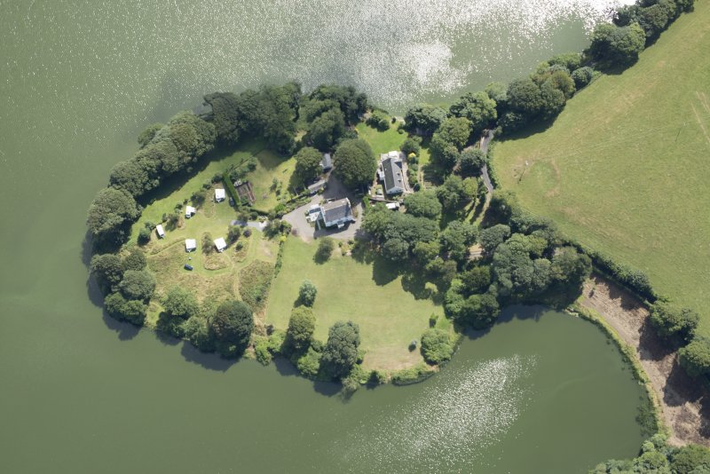 Oblique aerial view of Greenloch House and the site of Soulseat Abbey, looking SE.