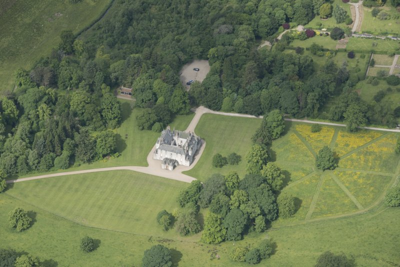 Oblique aerial view of Leith Hall, looking to the W.