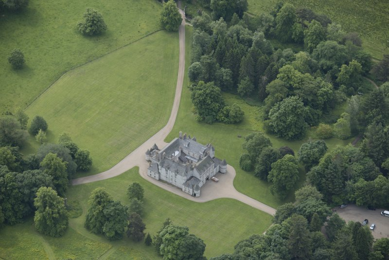 Oblique aerial view of Leith Hall, looking to the S.