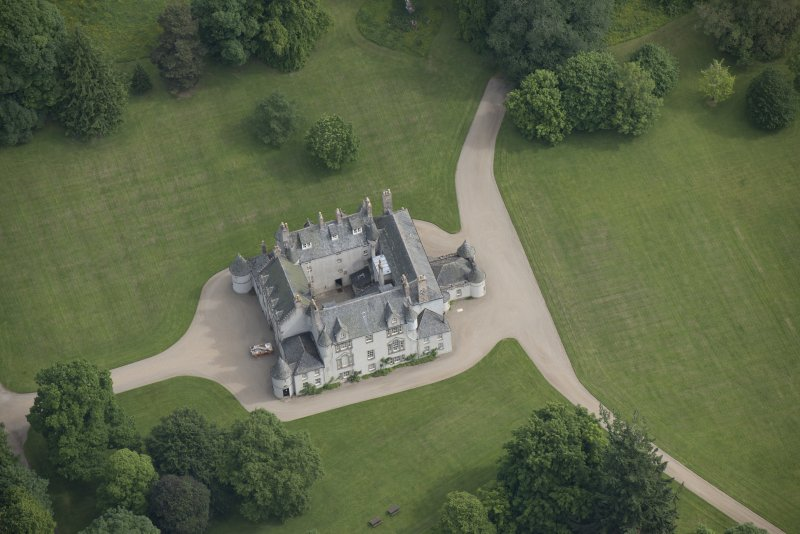 Oblique aerial view of Leith Hall, looking to the NNE.