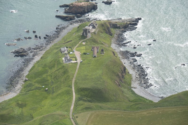 Oblique aerial view of Old Slains Castle, looking to the ESE.