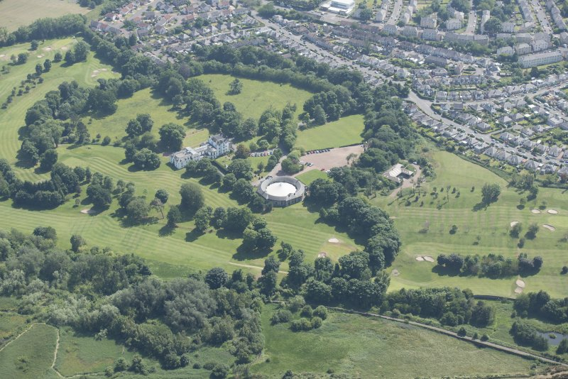 General oblique aerial view of Prestonfield House and golf course, looking S.