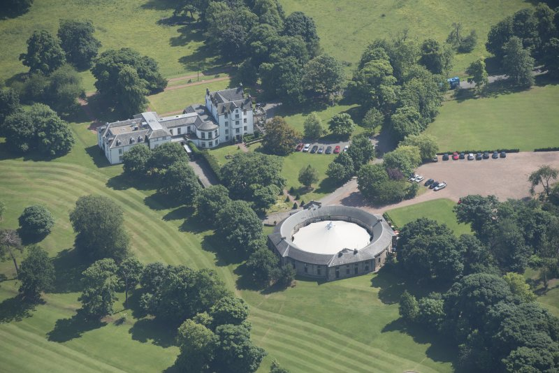 General oblique aerial view of Prestonfield House, looking SSE.