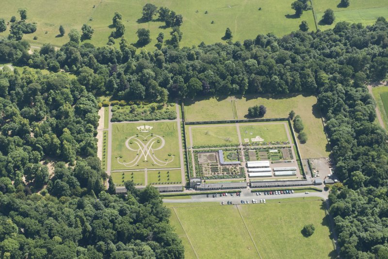 Oblique aerial view of formal gardens at Floors Castle, looking SE.