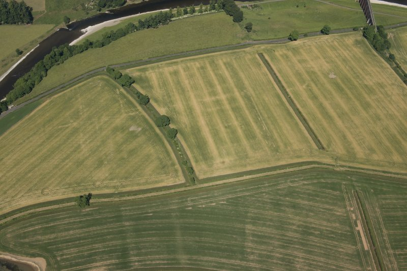 Oblique aerial view of the cropmarks of the Roman fort at Newstead, looking N.