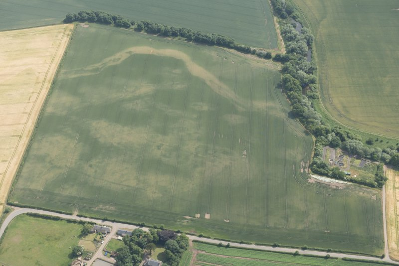 Oblique aerial view of the cropmarks of the cursus, enclosure and linear features at Preston Mains, looking S.