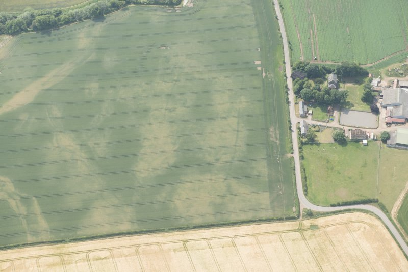 Oblique aerial view of the cropmarks of the cursus, enclosure and linear features at Preston Mains, looking W.
