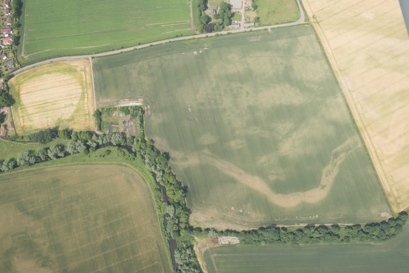 Oblique aerial view of the cropmarks of the cursus and other features at Preston Mains, looking N.