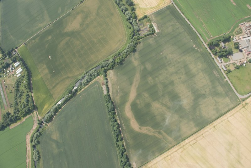 Oblique aerial view of the cropmarks of the cursus and other features at Preston Mains, looking W.