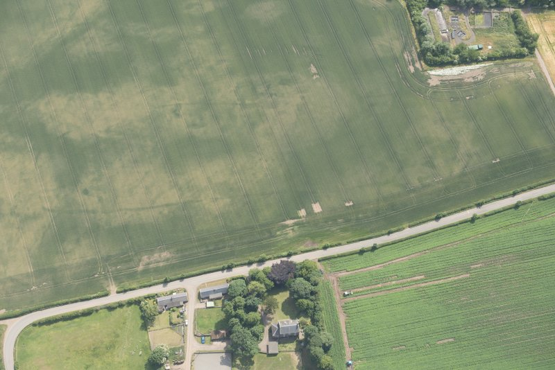 Oblique aerial view of the cropmarks of the cursus and other features at Preston Mains, looking S.