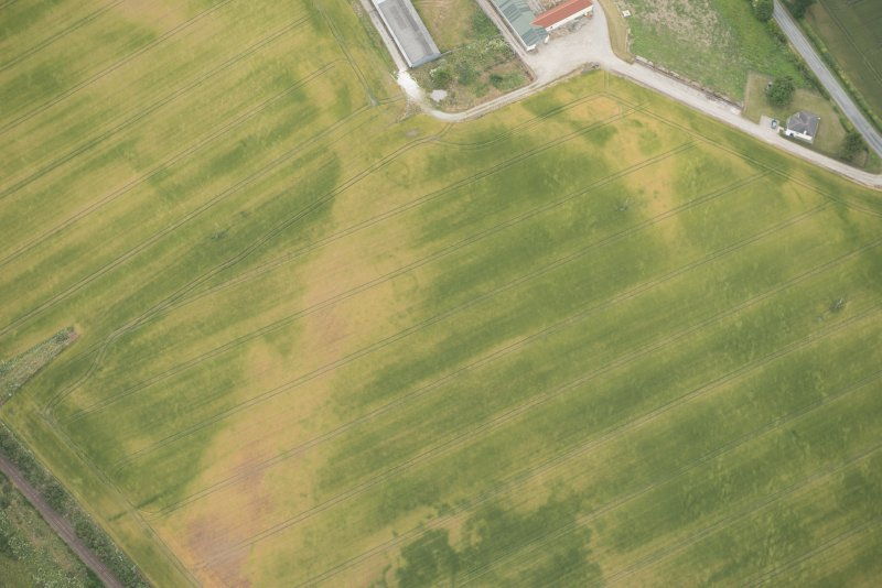 Oblique aerial view of the cropmarks of the possible unenclosed settlement, looking E.