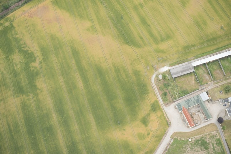 Oblique aerial view of the cropmarks of the possible unenclosed settlement, looking N.
