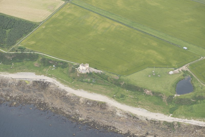 Oblique aerial view of Ballone Castle, looking NW.