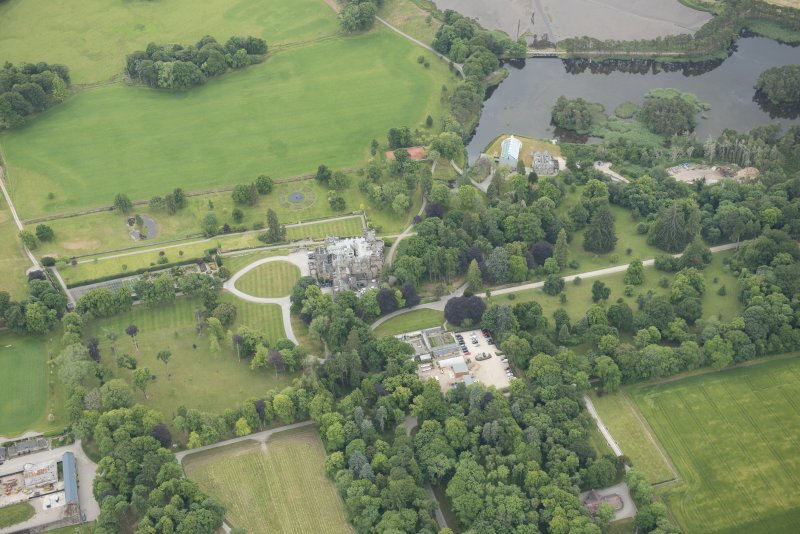 Oblique aerial view of Skibo Castle, looking S.