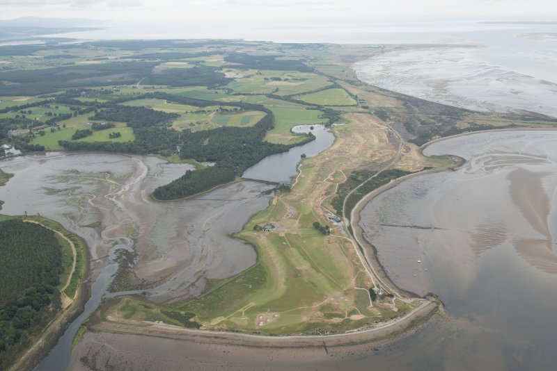 General oblique aerial view of the golf course and the fish traps in Poll na Caorach with Dornoch beyond, looking ENE.