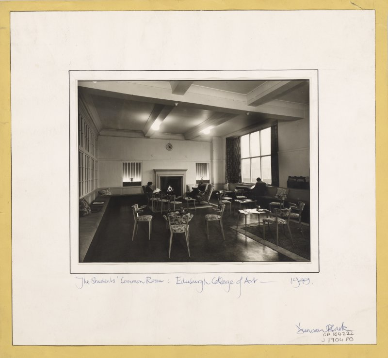 Photograph showing the interior of student common room, Edinburgh College of Art