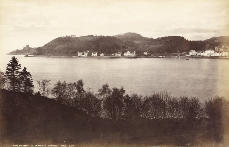 Distant view across loch. Titled: 'Bay of Oban and Dunollie Castle 745 G.W.W.' PHOTOGRAPH ALBUM No. 33 : COURTAULD ALBUM