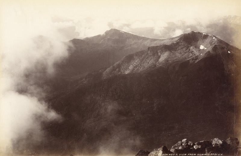 View from summit of Ben Nevis. Titled: 'Ben Nevis, View from summit 5721 J.V.' PHOTOGRAPH ALBUM No.33: COURTAULD ALBUM.