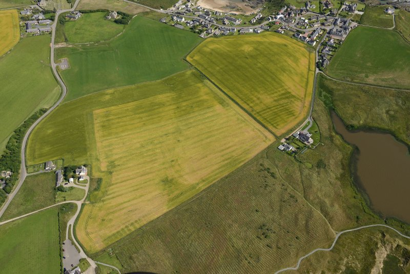 Oblique aerial view of the cropmarks of rig and furrow, looking ESE.