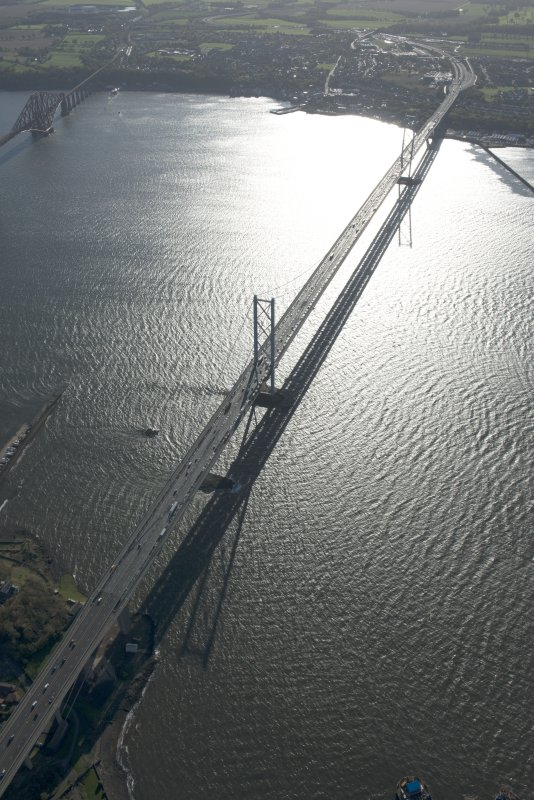 Oblique aerial view of the Forth Road Bridge, looking to the SSE.